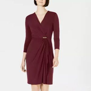 CHARTER CLUB Faux Wrap Dress NWT SZ OX Merlot